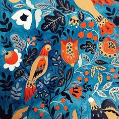 mirdinara -  This has been sitting in my desk for quiet some time. Little by little I add details in between my projects. #mirdinara #surfacedesign #patternfashion #patterdesign #printdesign #print #pattern #surfacespatterns #birds #illustration  #floraldesign  #floral #art
