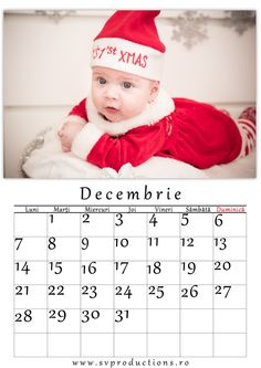 Calendar luna Decembrie cu tema Craciunita.