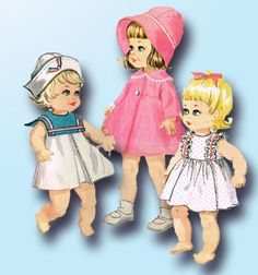 1960s Vintage McCalls Sewing Pattern 8564 Angel Baby 14-18 Inch Doll Clothes #McCalls