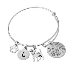 Our 'In Loving Memory' bracelet is a unique gift for memorializing a deceased dog. Select dog breeds and corresponding initial charms. Bangle Bracelets, Bangles, Letter Charms, Initial Charm, In Loving Memory, Laser Engraving, Dog Breeds, Initials, Unique Gifts