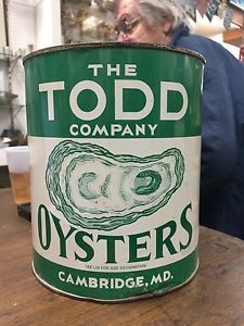 antique oyster tins   Rare-Vintage-The-Todd-Company-Oyster-Can-Tin-Cambridge-MD