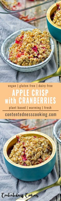 My Vegan Apple Crisp with Brazil Nuts and Cranberries is a flavorful and healthy recipe. An awesome option for a holiday dessert, snack or even breakfast. #plantbased #dairyfree #vegan #glutenfree