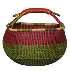 Handwoven baskets at overstock.com.  I have used the four I own daily.  I am known as the basket lady.  Great to carry crafts, food, purchases, books etc... Mine are over 10 years old.  They do fade if left in sunlight too long.  If they lose teir shape, stick them in a bthtub of water and reshape as they dry!