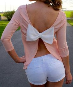 Pink Plain Bow Tie Back Cut Out Sexy 3/4 Sleeve T-Shirt