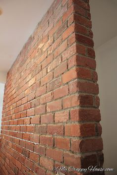 How to construct DIY brick walls? - No matter you are looking to build a small patio DIY brick wall or an outside boundary wall for your house there are some basics that you must know be. Brick Veneer Panels, Faux Brick Panels, Brick Paneling, Exposed Brick Walls, Fake Brick Walls, Brick Wallpaper Accent Wall, Brick Fireplace Makeover, Fireplace Wall, Brick Interior