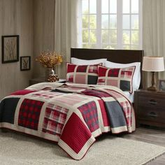 3 Piece Red White Black Grey Plaid Themed Quilt Full Queen Set, All Over Patchwork Madras Lodge Cabin Check Theme Bedding, Multi Patch Work Lumber Jack Checkered Bed Pattern, Burgundy Beige Dark Grey King Quilt Bedding, Plaid Bedding, Plaid Quilt, King Size Quilt, Rustic Bedding, Queen Quilt, Bedding Sets, Nautical Bedding, Unique Bedding