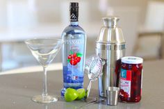 CHERIE MARTINI 2 Parts Pinnacle Cherry Vodka 1/2 Park Fresh Squeezed Lime Shake with ice and strain into a chilled Martini glass. Garnish with cherry & a lime wedge.