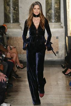 Sleek Navy Blue Velvet Pant and Long Sleeve Top Ensemble by Emilio Pucci Fall 2015 RTW Runway - Vogue