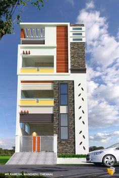 House Outside Design, House Front Design, House Design Photos, Small House Design, Modern House Design, Building Elevation, House Elevation, Building Exterior, Village House Design