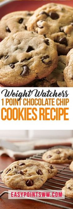 Chocolate Chip Cookies Recipe from Weight Watchers ♥ Weight Watcher Desserts, Weight Watchers Snacks, Weight Watcher Cookies, Plats Weight Watchers, Weigh Watchers, Weight Watcher Dinners, Weight Watchers Free, Weight Loss, Biscuits