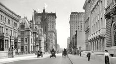 NYC Gilded Age, 5th Ave. & 51st. Street.  Central Park in back ground.