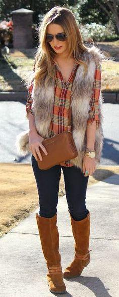 Faux Fur Vest in Striped Camel