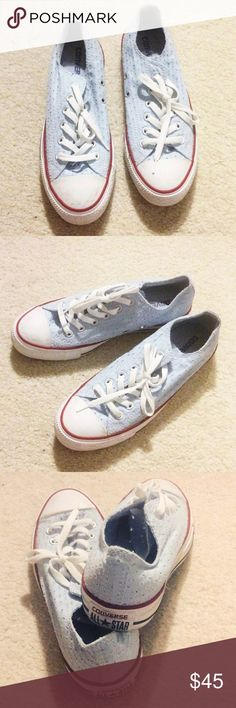 Light blue eyelet Converse size 6M/ 8W Very nice. Cheaper on Vinted. Converse Shoes Sneakers