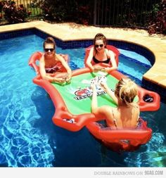 You know you want one        ###floating card table for pool (texas hold 'em)