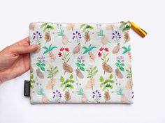 Handpicked Herbs Cotton Bag / Pouch with Digitally Printed Hands Holding Flowers Pattern