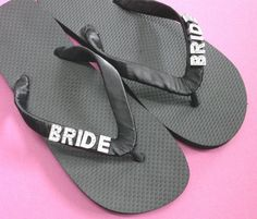 75f6878c4bd3e Personalised Wedding Flip Flops with BRIDE in silver or gold letters