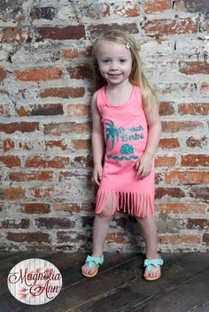 Beach Babe, Beach, Ocean, Infant, Toddler, Little Girls Fringe Dress in 5 Colors in Sizes 6 Months-6X by MagnoliaAnn on Etsy