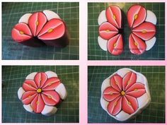 #Red flower cane tutorial