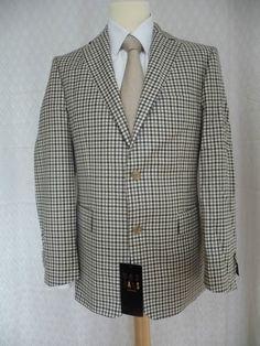 DAKS Brand New Brown Small Check Jacket 40R RRP £495 | eBay