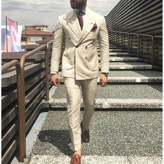 Custom men's suits Latest coat pants designs Ivory Beige Double-breasted men's suit Formal Slim Fit Gentle Blazer – For Men Suit Up, Suit And Tie, Mens Fashion Suits, Mens Suits, Mens Leisure Wear, Mode London, Prom Suits For Men, Fitted Suit, Well Dressed Men