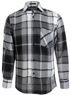 522576dd3b5 OCIA Men s Flannel Plaid Check Design Button Down Shirt Relaxed Fit Gray  XXXX-Large
