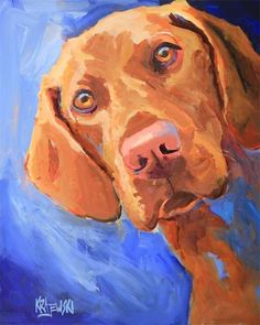 Vizsla Art Print of Original Acrylic Painting Dog Paintings, Original Paintings, Acrylic Paintings, Art Sketches, Art Drawings, Most Beautiful Dog Breeds, Dog Artwork, Watercolor Animals, Watercolor Painting