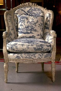 Antique French Wingback Bergere Chair with blue and white toile French Furniture, Shabby Chic Furniture, Rustic Furniture, Antique Furniture, Modern Furniture, Outdoor Furniture, Furniture Ideas, Furniture Layout, Furniture Inspiration