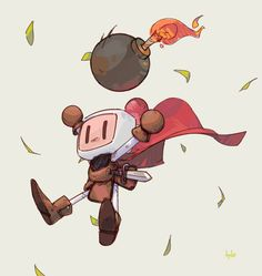 "ttyto-alba: ""Bomberman Pocket was my favorite game when I was little, and the Bomber's character design has always stuck with me. Bomberman will always have a special place in my heart. """