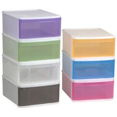 Large Tint Stacking Drawer  -  These worked wonderfully as under the bed storage in my dorm and apartment to store just about anything! I am currently using them stacked 2 high as a nightstand next to my bed.