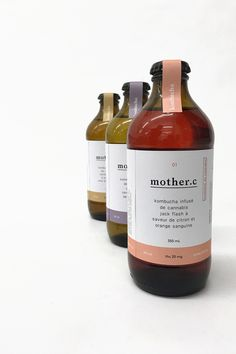 """Each flavor has a coordinating color that appears on the label as well as the sticker that covers the bottle cap. The hues are slightly sun-faded, giving a sense of the product being from the earth. Small marijuana leaf icons let consumers know that this is a cannabis product, and images like a lightning bolt or a series of """"zzz's"""" indicate the best use for each kombucha."""