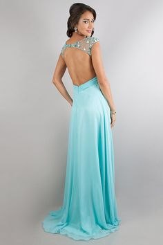 2014 Chiffon Prom Dresses Scoop Neckline Backless A Line Beaded&Ruffled