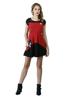 Get your dress game up to speed with century fashion with this officially licensed Star Trek Starfleet short sleeved red skater dress! Star Trek Party, Star Trek Kostüm, Star Trek Cosplay, Red Skater Dress, Fandom Fashion, Fashion Brands, Summer Dresses, Stars, How To Wear