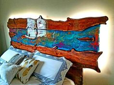Pretty awesome looking headboard for king size bed. Carved raw | Etsy King Headboard, Wood Headboard, Solid Wood Bed Frame, Reclaimed Wood Beds, Glass Center, Wood Slab, Light Reflection, Headboards For Beds, How To Make Bed