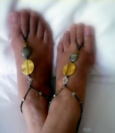 Barefoot Sandals  Beaded  Two Tone Metallic  Free by art4ubyme