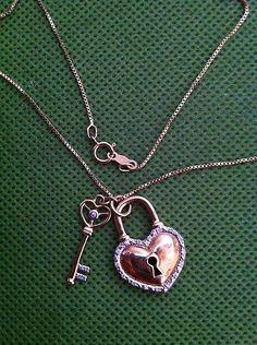 Silver Diamond Pendant Heart and Key   eBay
