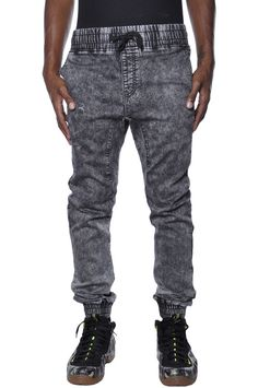 Authentic Lavish Society Faux Denim Elastic Drop Crotch NYC Apparel Jogger Pants in Clothing, Shoes & Accessories | eBay