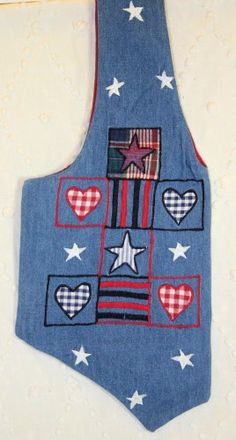 """Denim VesTote with Appliqued Hearts and Stars. This is so clever...it looks just like a vest, but you stuff your """"stuff"""" in it.  I like."""
