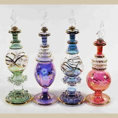 Set of 4 pieces of medium Handmade perfume bottles