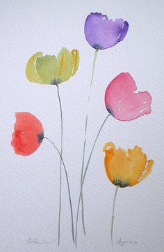 £40 ~ COLOURFUL POPPIES watercolour painting by TheMinervaGallery