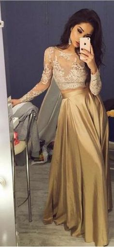 2017 prom dress, long sleeves prom dress, gold prom dress, champagne prom dress, formal evening dress
