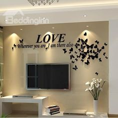 Love Letters And Erflies Acrylic Tv Sofa Background Waterproof Wall Stickers