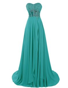 Dressystar Long Beaded Prom Dress Sweetheart Evening Formal Gown Chiffon Dress Size 4 Turquoise. With sequins bodice, built in bra and fully lind, this sweetheart gown is perfect for prom, wedding, military ball, evening party and other special occasions. The fabric is chiffon with light, breathable and straight features. With sparkling beaded bodice and long flowing chiffon skirt, this stunning long evening gown is available in a wide array of colors and petite and plus sizes for your…