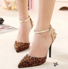Leopard rivet decorate high heel shoes_High-heeled Pumps_Shoes