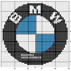 Free web site of fabric patterns created from images Embroidery Patterns Free, Loom Patterns, Fabric Patterns, Beading Patterns, Cross Stitch Patterns, Knitting Patterns, Hama Beads, Plastic Bead Crafts, Logo Bmw