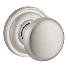 Baldwin PV.ROU.TRR Round Style Privacy Door Knob Set with Traditional Round Rose Satin Nickel Knobset Privacy