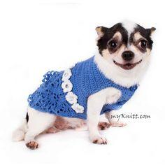 Blue Lace Crocheted Dog Dress With White Flowers Crystal DF85 by Myknitt (2) #chihuahua #DIYdogclothes #crochet #myknitt