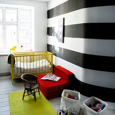 strong red, yellow and black nursery..cool stripes too