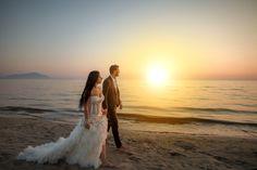 Wedding, nozze, matrimonio,tramonto, sogno. favola sposi