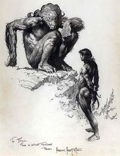 Pellucidar, Ink drawing, Frank Frazetta