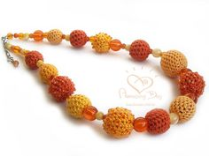 Crocheted Statement NECKLACE Yellow Orange Honey crochet bead Necklace Sunny Spring Necklace. Contemporary crochet Seed bead Textile jewelry
